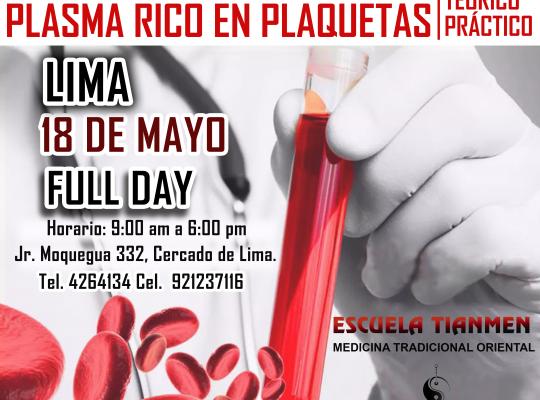 CURSO DE PLASMA RICO EN PLAQUETAS 18 MAYO 2019